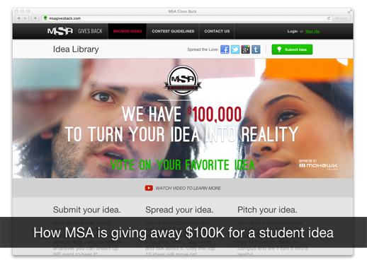 Mohawk Students' Association is giving away $100K for the BEST student idea.
