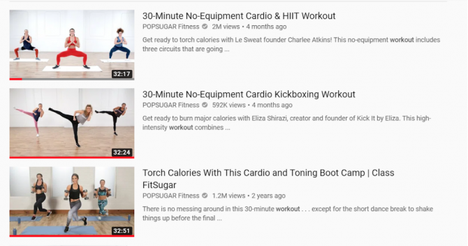 PopSugar Fitness Youtube Account