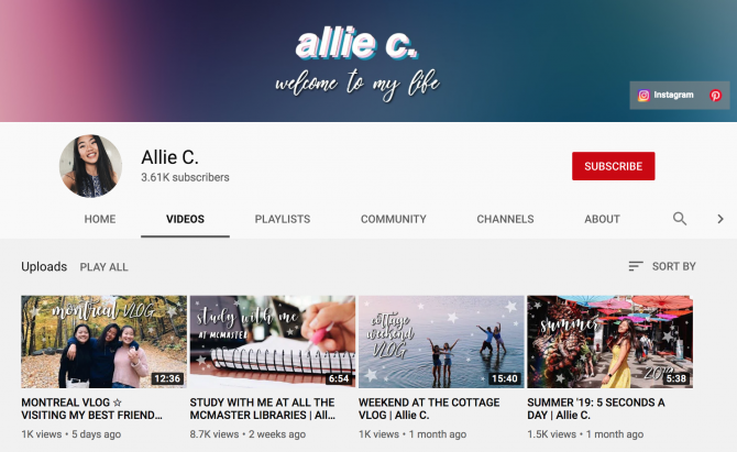 allie c youtube