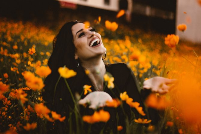 fall leaves, laughing