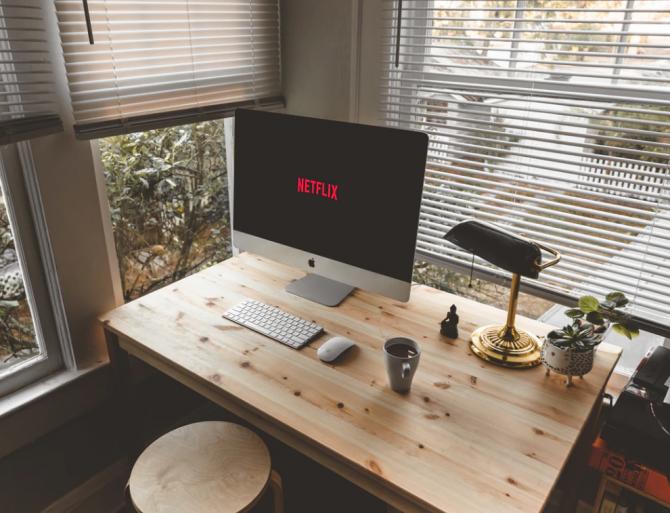 netflix, computer monitor, desk