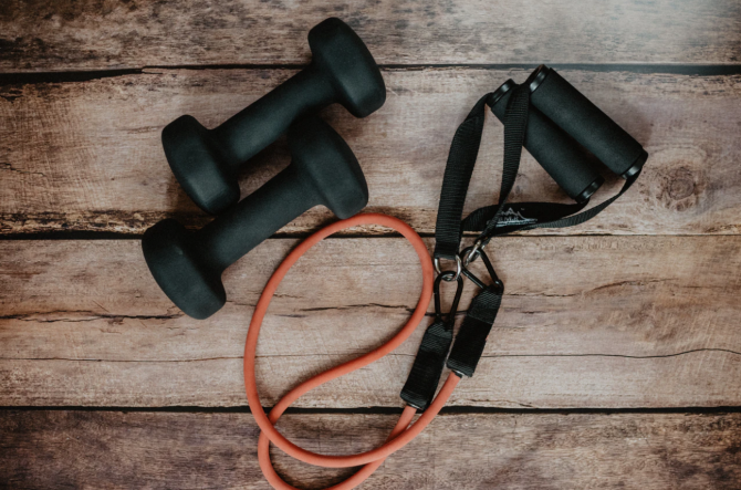 workout routine equipment, jumprope and weights